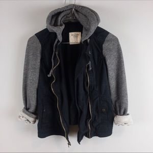A&F mixed fabric Jacket with hood front zipper XS